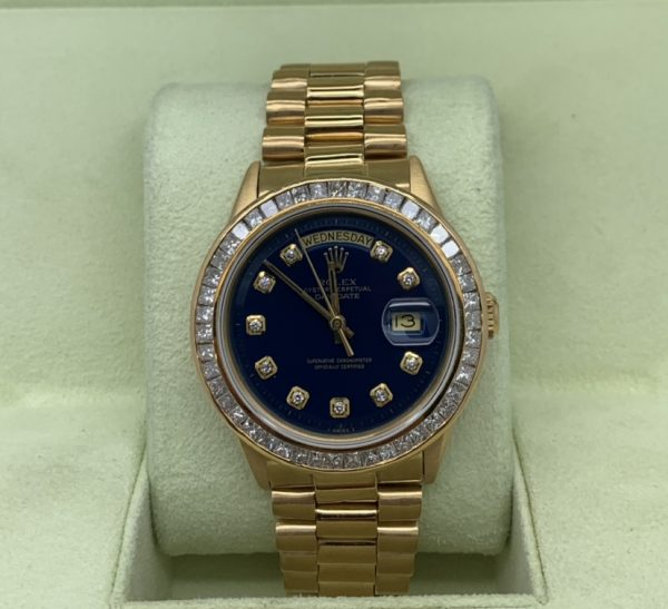 rolex daydate 36mm blue dial diamond bezel 18k gold