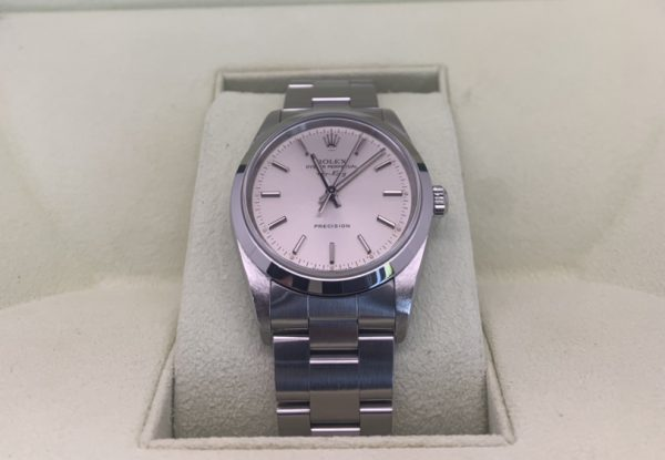 rolex air king white dial stainless steel