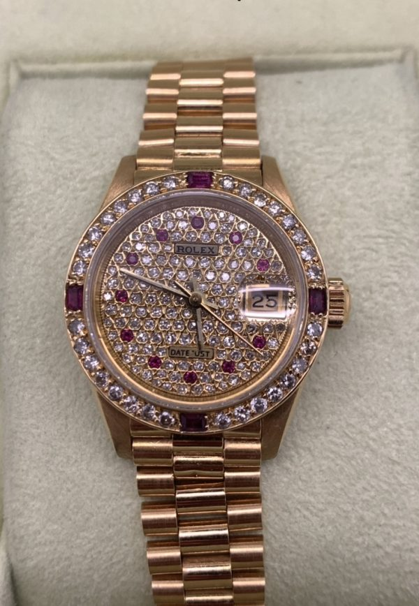 rolex ladies 18kt datejust 28mm diamond dial & bezel