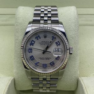rolex datejust 36mm silver decorated arabic