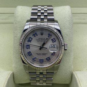 rolex datejust 36mm silver decorated arabic